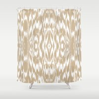 camel Shower Curtains featuring Ikat: CAMEL by Eileen Paulino