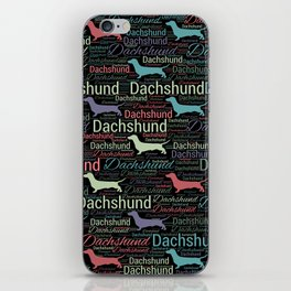 Dachshund silhouette and word art pattern iPhone Skin
