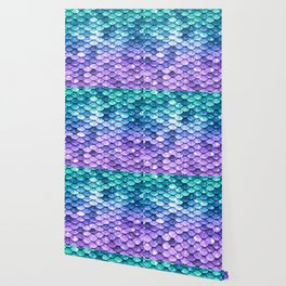 Mermaid Ombre Sparkle Teal Blue Purple Wallpaper