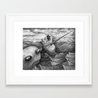 narwhal Framed Art Prints featuring Narwhal by GrimReminders
