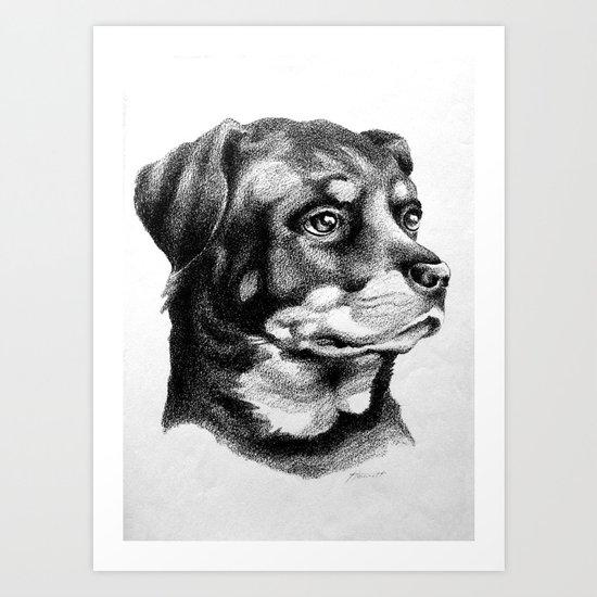 Rottweiler Devotion Art Print