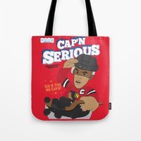 blackhawks Tote Bags featuring Cap'n Serious  by Hawk Tawk TV