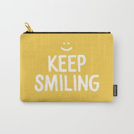 Keep Smiling Quote - Yellow Carry-All Pouch
