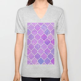 Pink and purple glass Moroccan print Unisex V-Neck
