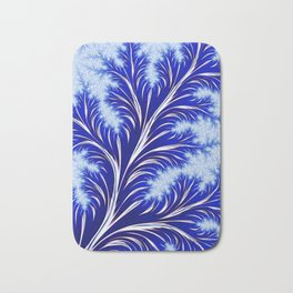Abstract Blue Christmas Tree Branch with White Snowflakes Bath Mat