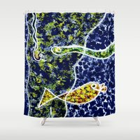 under the sea Shower Curtains featuring Sea Snake Under the Sea  by Geckojoy