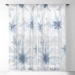 Winter Blue Flowers Sheer Curtain