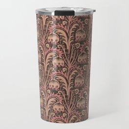 Old Rose Pink Woodcut Style Bellflower William Morris inspired Pattern Travel Mug
