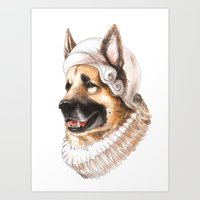 german shepherd Art Prints featuring German Shepherd by Petty Portraits