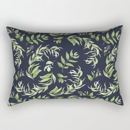Pink green hand painted watercolor floral leaves pattern Rectangular Pillow