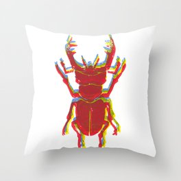 Stag Beetle Tricolore lino cut Throw Pillow
