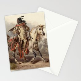 Blackfoot warrior by Karl Bodmer Stationery Cards