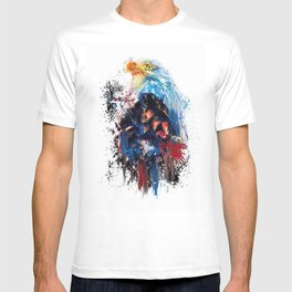 Drippy Jazzy Bald Eagle Colorful Bird Art by Jai Johnson T-shirt