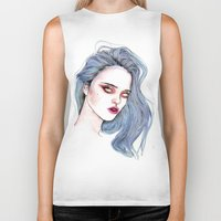 sky ferreira Biker Tanks featuring Sky Ferreira /  Blue  by Lucas David
