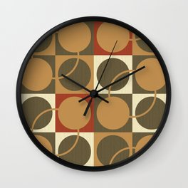 Yellow and olive green circles Wall Clock