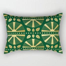 Emerald & Gold Art Deco Fan Rectangular Pillow