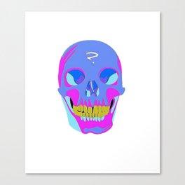 Neon Pixel Psychaedelic Halloween Skull  Canvas Print