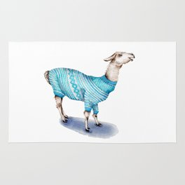 Llama in a Blue Sweater Rug