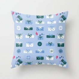 Giftmas - Blue Throw Pillow