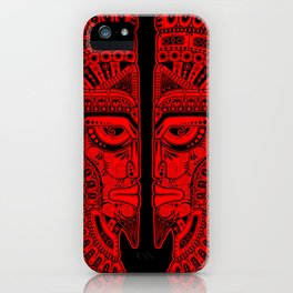 Red and Black Aztec Twins Mask Illusion iPhone Case