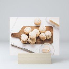 Cheddar Cheese Ham Scones Muffins, Food Photography Print, Restaurant Cuisine Art Print, Kitchen Print, Flat Lay Wall Art Mini Art Print