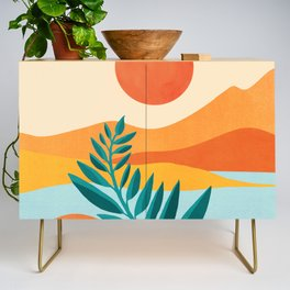 Mountain Sunset / Abstract Landscape Illustration Credenza