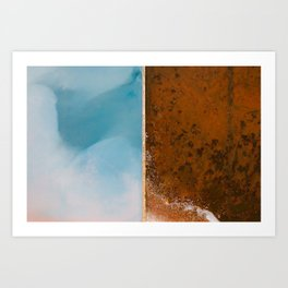 Abstract blue and orange Lake from above – Landscape Photography Art Print