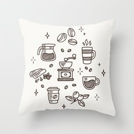 Coffee Doodles Throw Pillow
