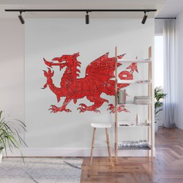 Welsh Dragon With Grunge Wall Mural