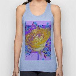 YELLOW ART ROSE FLOWERS  PURPLE-PINK DESIGN Unisex Tank Top