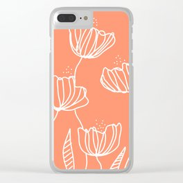 Peach Flower Doodles Clear iPhone Case