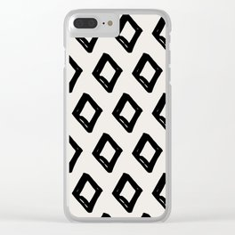 Modern Diamond Pattern Black on Light Gray Clear iPhone Case