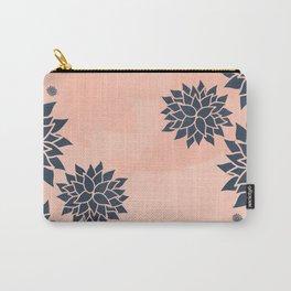 Blue Dahlias on Peach Carry-All Pouch