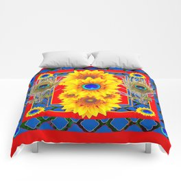 RED-BLUE PEACOCK JEWELED SUNFLOWERS DECO ABSTRACT Comforters