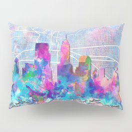 indianapolis city skyline watercolor 2 Pillow Sham