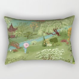 Wabi Sabi Japanese Garden Scene Rectangular Pillow