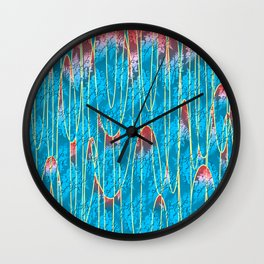 Turquoise lava lamp effect with floral motif Wall Clock