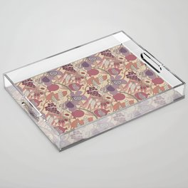 Seven Species Botanical Fruit and Grain in Mauve Tones Acrylic Tray