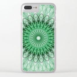 Delicate green mandala Clear iPhone Case