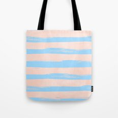 Trendy Stripes - Sweet Peach Coral on Blue Raspberry Tote Bag