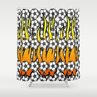 soccer Shower Curtains featuring Soccer Flame by Trippin Up