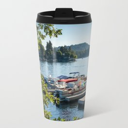 Overlooking a pier and boats on Lake Arrowhead, CA Travel Mug