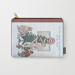 Team Cap Naughty Pinup Holiday Card Carry-All Pouch