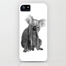 Misty Forest Koala Bear - black and white iPhone Case