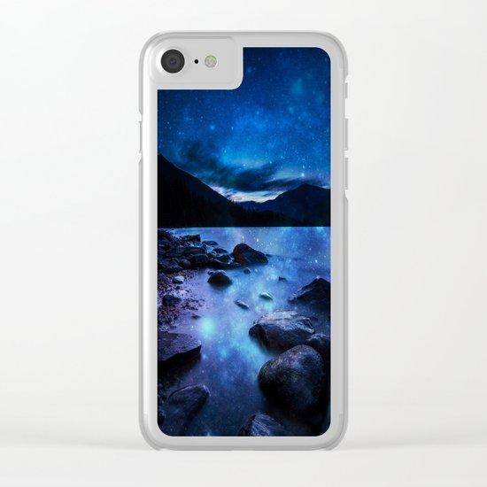 Magical Mountain Lake Dark Blue Clear iPhone Case