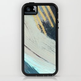 Karma: a bold abstract in blues and gold iPhone Case