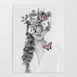 woman with flowers and butterflies 9a Poster
