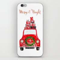 craftberrybush iPhone & iPod Skins featuring Red Christmas Car - white  by craftberrybush