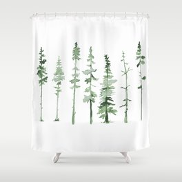 Green Trees Silhouette Shower Curtain