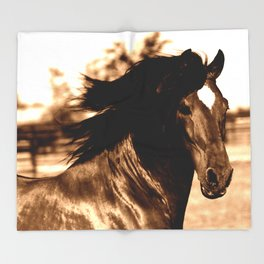 Horse print horse photography equestrian art sepia Poster Throw Blanket